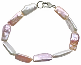Zoetwater parel armband Pearl Rectangle Soft Colors