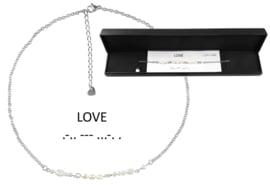 Cadeau set zoetwater parelketting Morse Code Love Pearl Silver