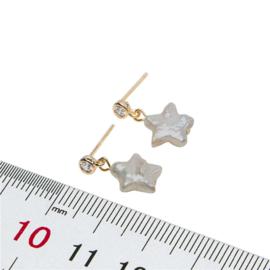 Zoetwater parel oorbellen Bling Pearl Star Gold