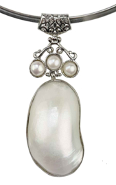 Zoetwater parelketting met parelmoer Three Pearl Shell Long