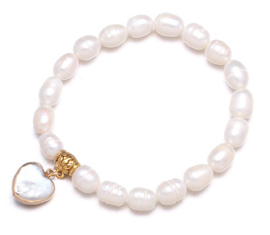 Zoetwater parel armband Golden Pearl Heart