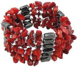 Koralen armband met edelsteen Wrap Magnetite Coral