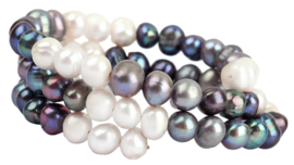 Zoetwater parel armband Wrap White Grey Blue Pearl