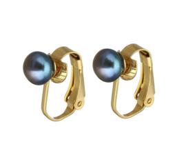 Zoetwater parel clips oorbellen Gold Grey Clip Pearl 6 mm