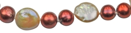 Zoetwater parel armband Red Pearl Peach Coin