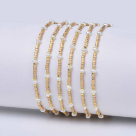 Zoetwater parel armband Mini Pearl Bead Gold