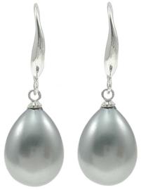 Mother of pearl parel oorbellen Shell Pearl Teardrop Grey