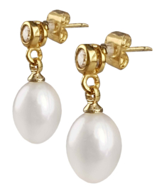 Zoetwater parel oorbellen Bling Gold White Pearl
