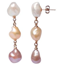Zoetwater parel oorbellen 3 Baroque Soft Pearls