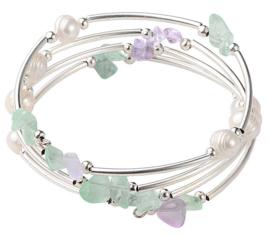 Zoetwaterparel en edelstenen armband Wrap Pearl Fluorite