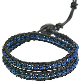 Kristallen armband Double Wrap Blue Crystal