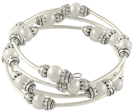 Zoetwater parel armband Three Loops White Pearl