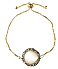 Zoetwater parel armband Bright Minimal Gold Coin