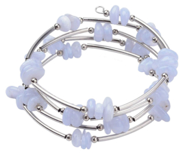 Edelstenen wikkelarmband Wrap Light Blue Agate Chip