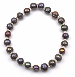 Zoetwater parel armband Seed Bead Pearl Dark