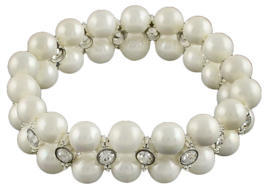Mother of pearl parel armband Double Bling White Shell Pearl