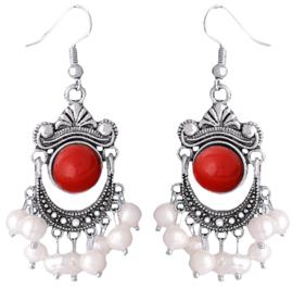 Zoetwater parel oorbellen Pearl Retro Red