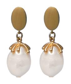 Zoetwater parel oorbellen Sari Pearl Gold