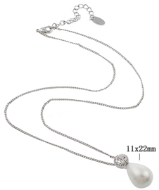 Mother of Pearl parel ketting Bling Shiny White