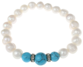 Zoetwater parel armband met edelsteen Bling Pearl 3 Turquoise Balls