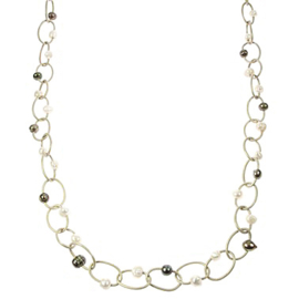 Zoetwater parelketting Leather Pearl Oval Long