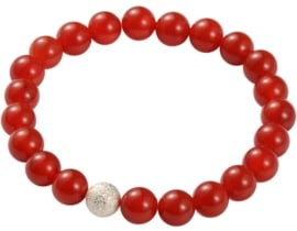 Edelstenen armband Silver Ball Red Agate