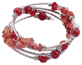 Edelstenen armband Four Loops Wrap Red Agate