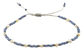 Zoetwater parel armband Mini Pearl Bead Pursian Blue