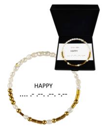Cadeau set zoetwater parel armband Morse Code Happy Pearl Gold