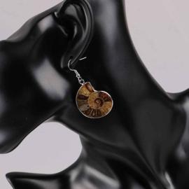 Fossiel oorbellen Snail