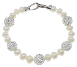Zoetwater parel armband Bling Silver Pearl