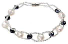 Zoetwater parel en kristallen armband Pearl Crystal Black 8