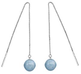 Edelstenen oorbellen Aquamarine Chain