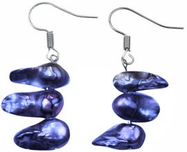 Zoetwater parel oorbellen Pearl Blister Cobalt Blue