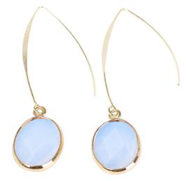 Edelstenen oorbellen Long Sea Opal Gold