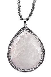 Parelmoeren ketting met edelstenen Bright White Shell Crackle