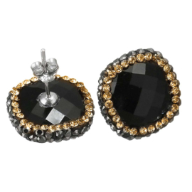 Edelstenen oorbellen Bright Black Agate Gold Square