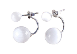 Edelstenen oorbellen Double Cat's Eye W
