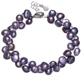 Zoetwater parel armband Double Baroque Pearl