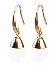 Edelstenen oorbellen Gold Dip Crystal Clear