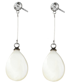 Parelmoeren oorbellen Bling Long White Shell