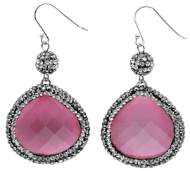 Edelstenen oorbellen Bright Old Pink Cat's Eye