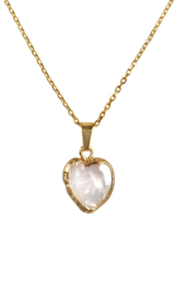 Zoetwater parelketting Golden Heart White Pearl