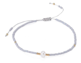Zoetwater parel armband Mini Pearl One Grey Color