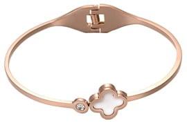 Parelmoeren armband Rose Gold White Shell Bling