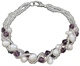 Zoetwater parel met kristallen armband Pearl Crystal Purple