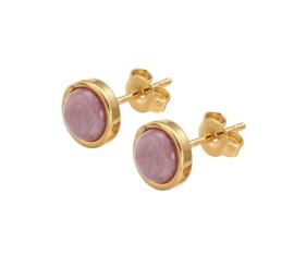 Edelstenen oorbellen Rhodonite Small Gold