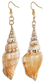 Schelpen oorbellen Big Conch Shell Gold