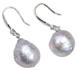 Zoetwater parel oorbellen Bling Kasumi Grey Pearl
