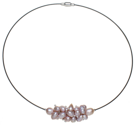 Zoetwater parelketting Pink Oval Ball